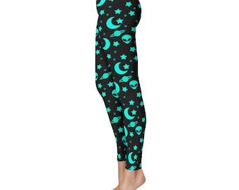 Alien Leggings, Outer Space Leggings, Blue and Black Night Sky Yoga Pants, Alien Heads Printed Tights, Star Leggings