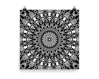 Black and White Mandala Art, Black Wall Art, Abstract Wall Decor, Poster Prints