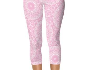 Leggings for Women, Pink Capris, Yoga Pants Pink and White Mandala Pattern Capri Leggings