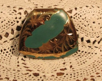 Ladies Compact, Vintage Elgin American Makeup Compact, Teal Green and Gold Flowered Compact, Clam Shell Powder Compact with Mirror, 1950s