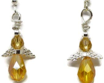 angel earrings for child, child angel earrings, yellow earrings for child, yellow angel earrings, small earrings, little earrings