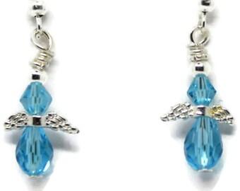 little angel earrings, earrings for child, angel earrings for child, blue earrings for child, small earrings for child, child drop earrings