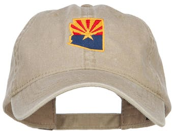 Arizona State Flag Map Embroidered Washed Cap