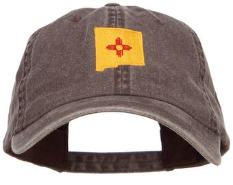 New Mexico State Flag Map Embroidered Washed Cap