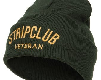 Stripclub Veteran Embroidered Long Beanie
