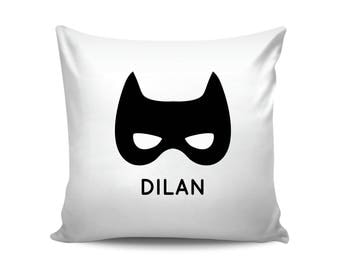 Batman Mask Custom Name Pillow, Personalized Pillow, Scandinavian Pillow, Monochrome Baby, Boy Nursery Decor, Personalized Baby Shower Gift