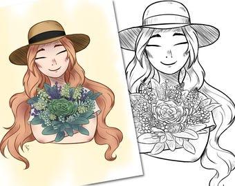 DIGITAL DOWNLOAD - Gardener Girl Coloring Page | Instant Download