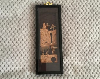Vintage 1970s Asian Cork Carving Artwork in Black Frame - Collectable Piece