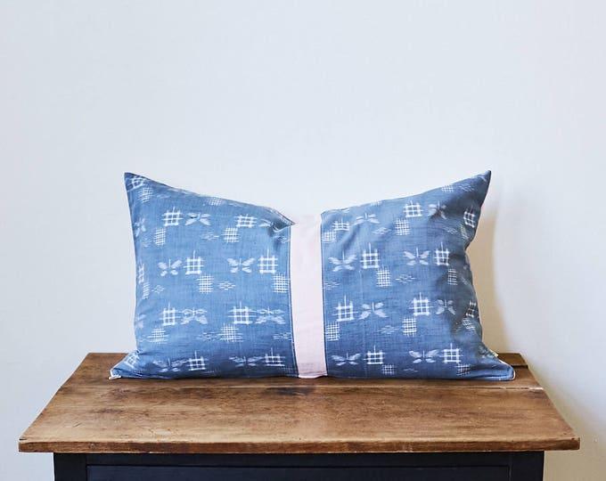"Vintage TUMUGI Japanese kimono fabric ""KASURI"" ikat design pillow 16"" x 26"""