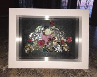 Victorian Valentine Hearts and Roses Shadow Box