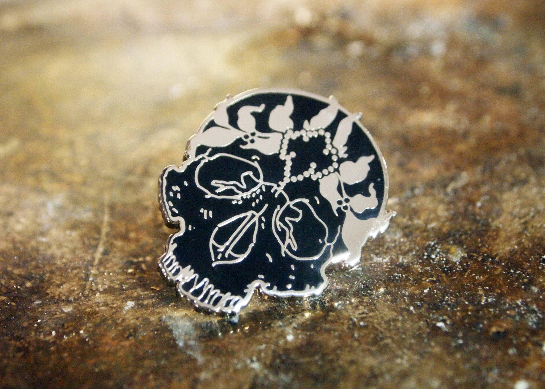 Jeweled Saint Enamel Pin - Silver