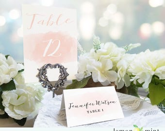 Calligraphy pink watercolor place card, calligraphy table number, watercolor place setting card, pink table sign, elegant place card LM003