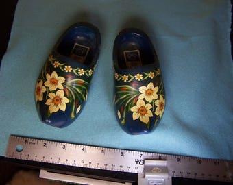 Blue Vintage Wooden Dutch Jundra Clogs Shoes