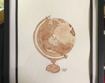 Human Blood Painting- Globe