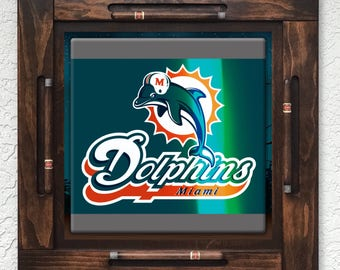 Wooden/wood domino table top-Miami Dolphins-Made in USA