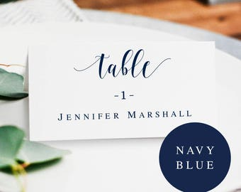 Navy editable placecards Navy place cards template Navy blue wedding place cards Wedding seating cards template Navy wedding template #vm23