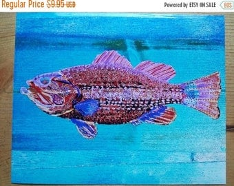 SALE LARGEMOUTH BASS Colorful Fishing Fish Cabin Lodge Home Decor Abstract Art Scott D Van Osdol 8x10 Glossy Fuji Color Print Of My Original