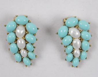 Vintage Crown Trifari 1930s 1940s Lucite Teal Turquoise Blue & Pearl Cabochon Clip Earrings Gold Tone Setting Easter Spring Summer Wedding