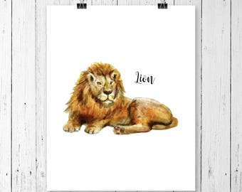 Lion Art Print | Safari Animal | Nursery Art | Watercolor | Gallery Wall | Instant Download | Digital Print | JPEG | 11x14 | 099
