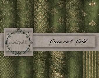 Sale Green Digital Paper: Green and Gold Glitter, Digital Glitter Paper Pack, Green Printable, Digital Gold Designs, P 13LA