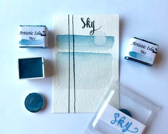 Sky, handmade watercolor, watercolor, blue, mountain, artistic, artist paint, calligraphy, letter art, painting