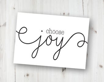Choose Joy Sign, Choose Joy Print, Home Decor, Positive Quotes, Housewarming Gift, Birthday Gift, Instant Download