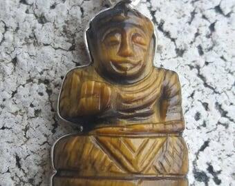 Energized zen Buddha Tiger eye pendant, 925 sterling silver