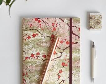 a5 travelers notebook, travel journal, refillable journal, bullet journal, bujo, cherry blossom, writing journal, journal diary, organizer