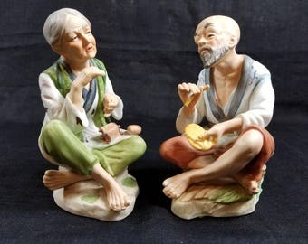 Porcelain Asian Couple Figurines, Vintage Asian Old Man Old Woman, Pair of Ceramic Figurines
