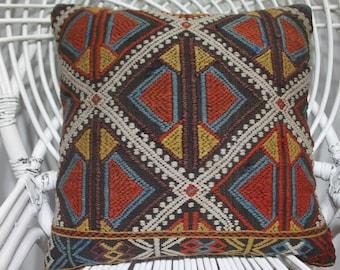 18x18 nomadic kilim pillow 18x18 geometric pillow,vintage kilim pillow couch pillow pastel kilim rug pillowcase vegetable dyes pillow 1910