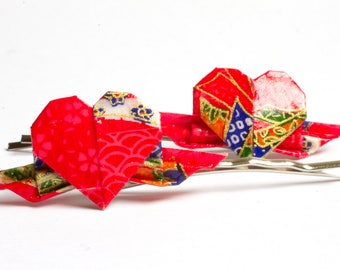 Winged Heart Origami Clips in Red and Gold