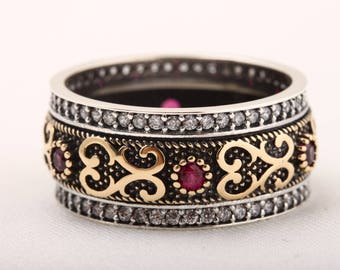 Authentic Sultan! Turkish Handmade Jewelry Ruby Topaz 925 Sterling Silver Ring Size 7