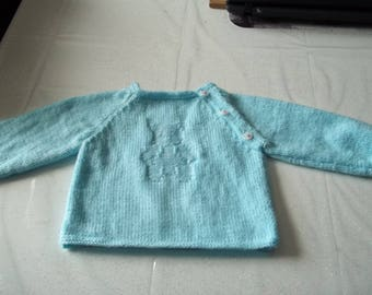 SWEATER baby 6 months: light blue with Teddy pattern