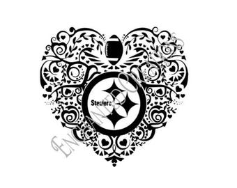 SVG/EPS/DXF/png file - Pittsburgh Steelers Heart