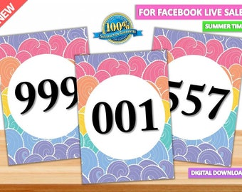 Facebook Live Sales, Mirrored + Normal Number Tag, 000-999, Reversed + Normal Numbers tags, Marketing, Printables, llr number tags, llr