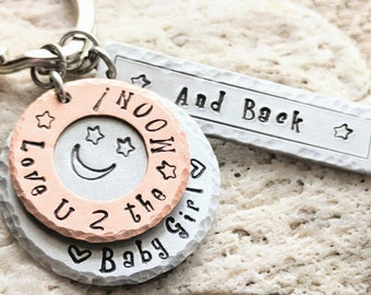 Baby girl key chain, Hand stamped keychain, Handstamped key chain, Custom keychain, Personalized keychain for mom, Free Shipping