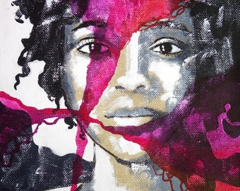 Portrait black & white purple handpainted original unique african american girl canvas acrylics exclusive minimal painting art face abstract