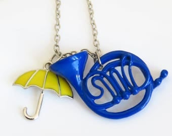 Blue Horn and Yellow Umbrella Necklace, How I met your mother inspired, blue saxophone, Ted Mosby, girl with umbrella, series tv jewelery