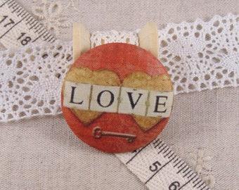 x 1 19mm fabric button love ref A12