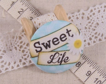 x 1 19mm button sweet life ref A14 fabric
