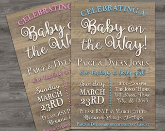 Printable Baby Shower Invitation! Pink or Blue