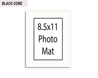 Multiple Colors - Any Opening Size - 8.5x11 Photo Mat (BLACK CORE)