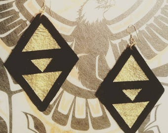 Diamond Shaped Leather Earrings Black Gold Painted 14k Hooks Shamanic Tribal Geometric Triangles BL1