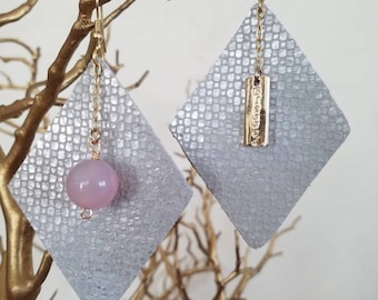 Statement Leather Earrings Silver Suede Diamond Shape Gold Hooks Geometric Pink Agate Charm Blessed Boho SLE1