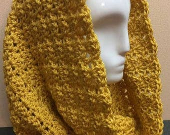 Mustard Yellow Hooded Cowl, Gold Hooded Cowl, Hooded Cowl, Crochet Cowl Scarf, Winter Cowl Scarf, Gifts for Her, Circle Scarf