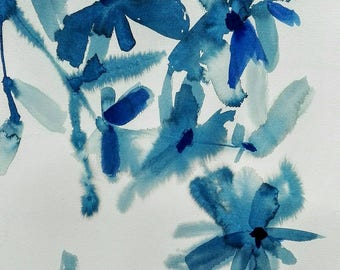 Abstract art colors, blue Klein Oriental Art, original painting on paper.