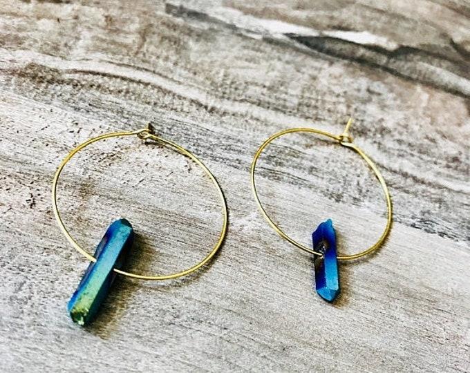 CLEARANCE SALE Raw Blue Aura Quartz Brass Hoops