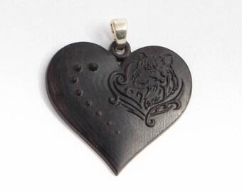 Wooden pendant heart Wooden Jewelry Heart Wooden Heart Necklace Black heart pendant Carved wooden heart pendant Little Heart Pendant