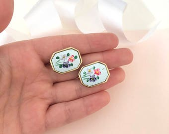 Hand Painted Earrings - Hand Painted Jewelry - Vintage Earrings - Clip on Earrings - Earrings - Artistic Earrings - Artistic Jewellery