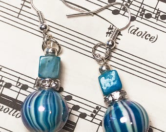 Gifts for Her, Beautiful Turquoise Blue Swirl Earrings